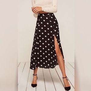 Reformation Black & White Polka Dot Veronica Skirt